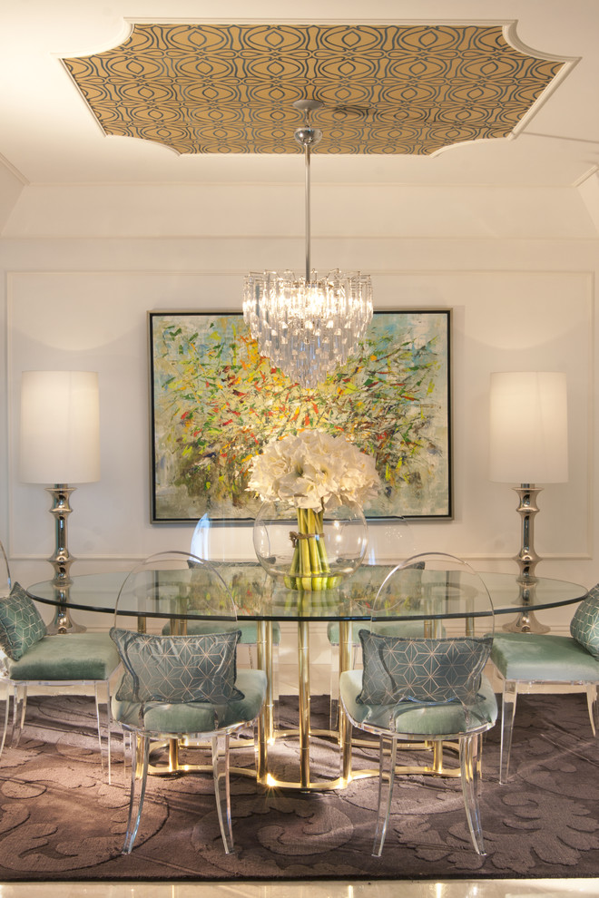 dining room lucite chairs decor chandelier glass table wallpaper on ceiling