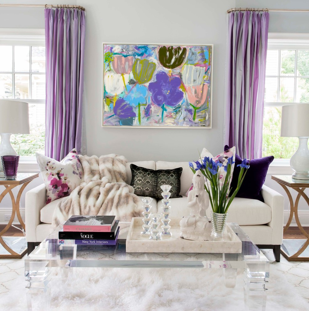 lilac purple living room grey spring decor