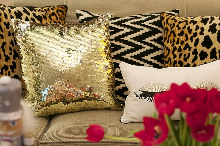 Sequin Leopard Holiday Pillows How To Dress Up A Sofa