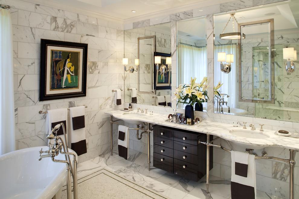 bathroom silver piping decor marble tiles ideas
