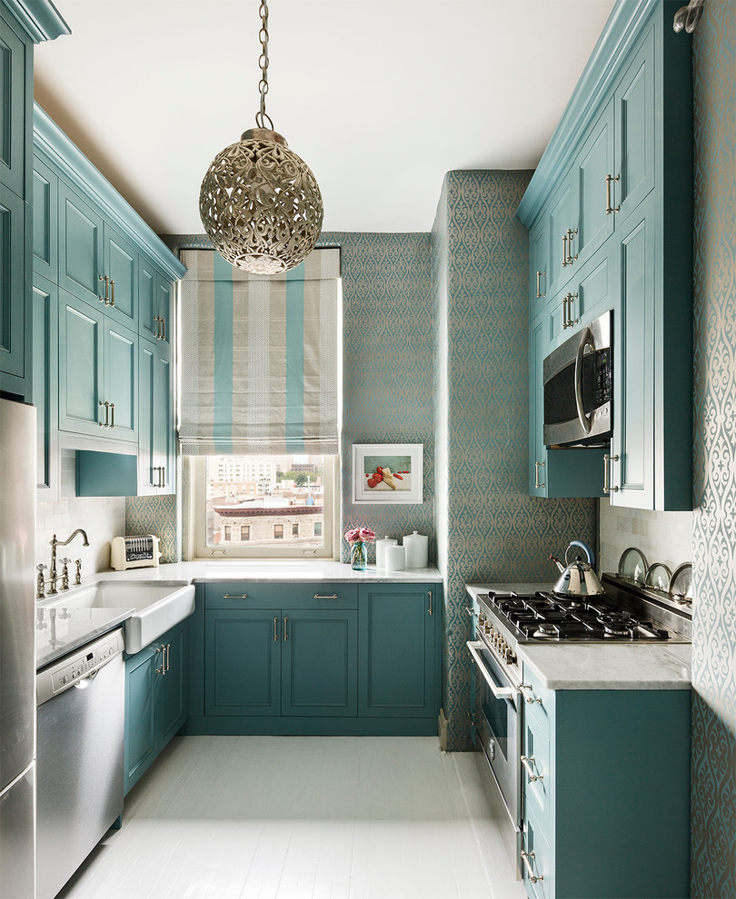 blue wallpaper kitchen teal turqouise decor ideas