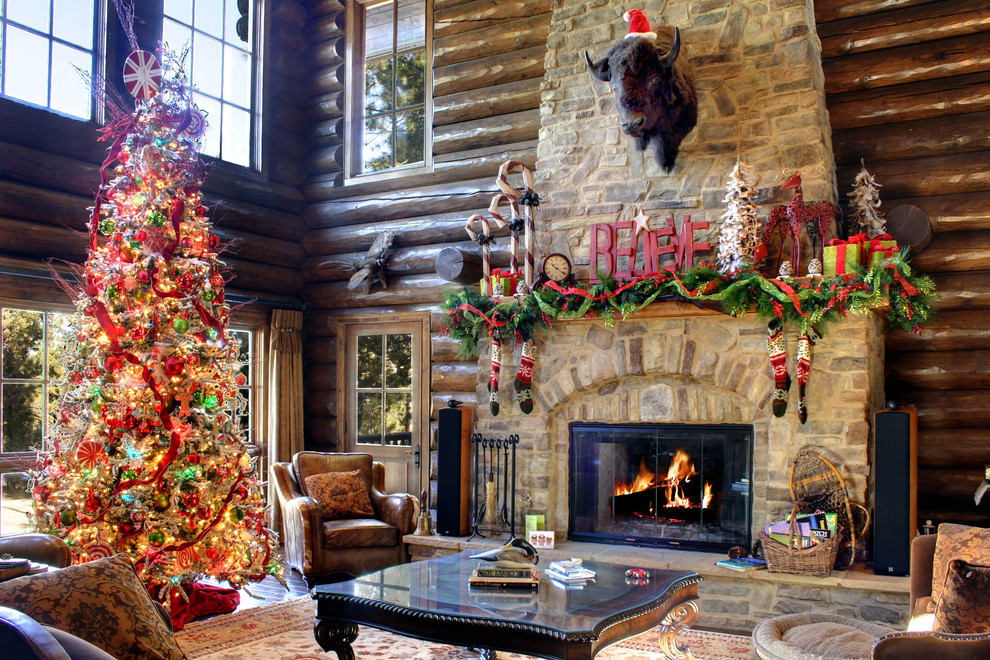 christmas decorating log house living room rustic cabin ideas better decorating bible blog - Decorating Your House For Christmas