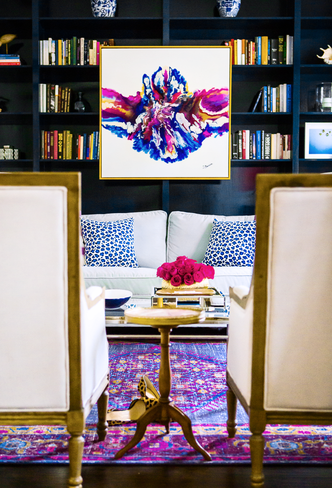 dara buriss artwork abstract how to hang artwork above couch living room family room purple bookshelves persian rug dark blue eclectic fancy pinterest shop-room-ideas