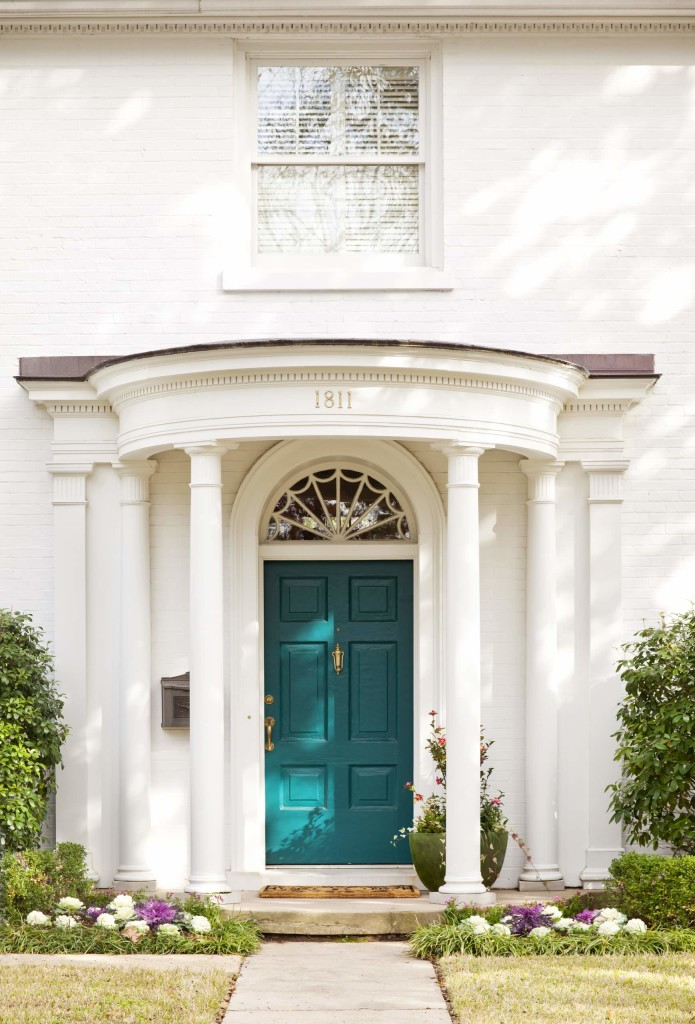 turqouise front door painting bright color ideas