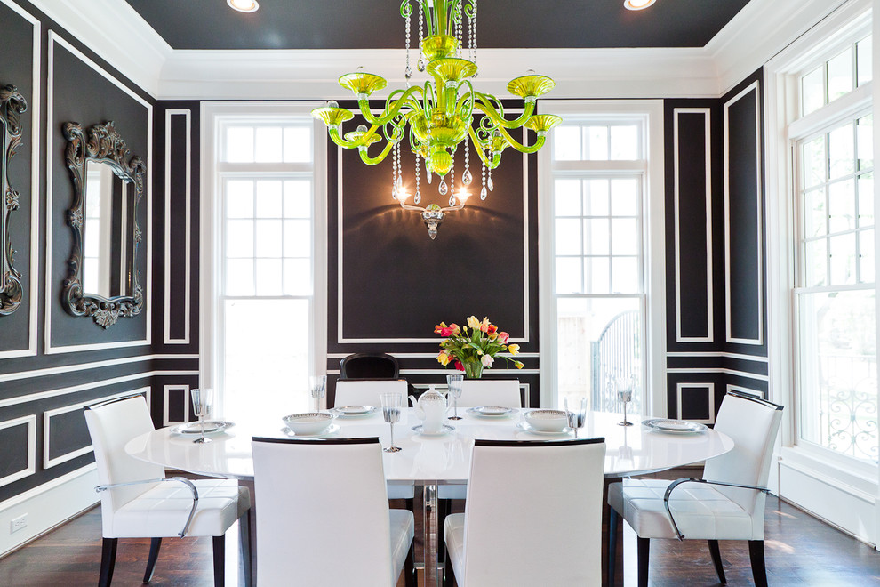 Easy wall molding ideas to dress up your walls you can - Black walls in dining room ...