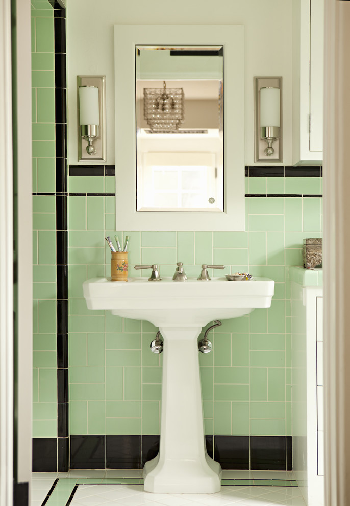 free standing sink mint bathroom tiles decor