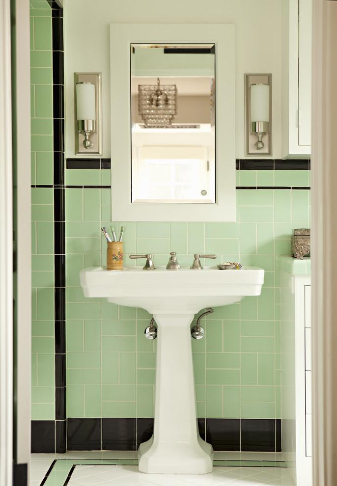 Free Standing Sink Mint Bathroom Tiles Decor