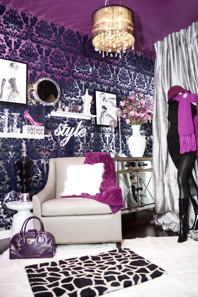 [ink damask glam room closet decor