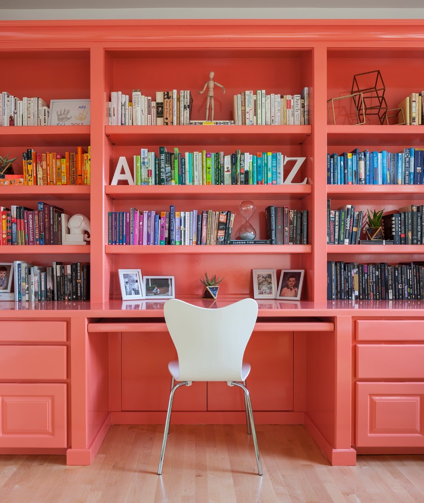 peach colored home office decor ideas