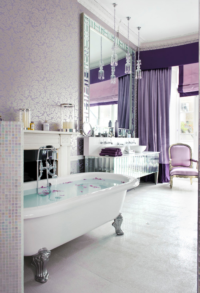 purple damask wallpaper jewel girly glam bathroom decor
