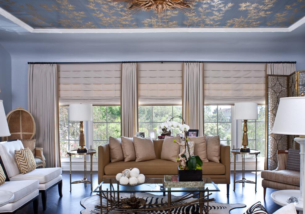 zebra hide rug living room safari style blue ceiling decor