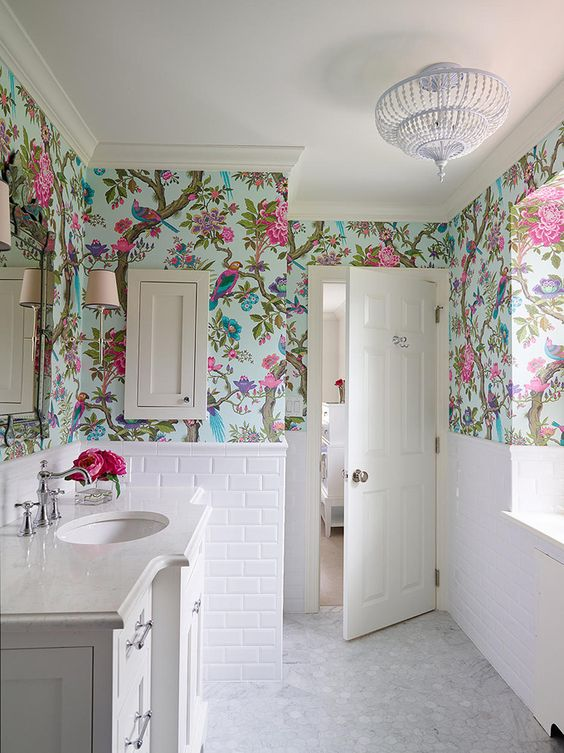 floral print bathroom chinoiserie decorating while chandelier