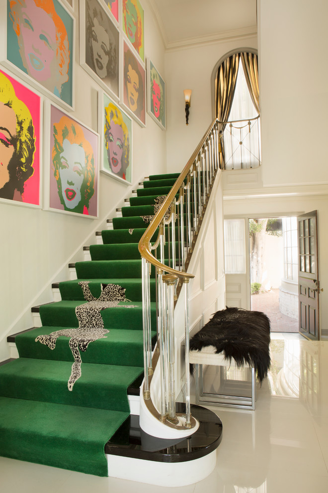 green runner staircase retro ideas decorating