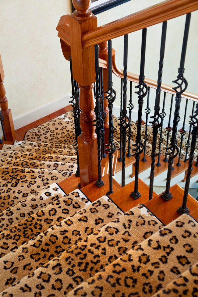 leopard stairs staircase runner makeover animal print ideas