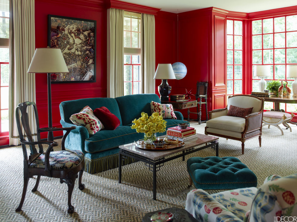 Beight Red Living Room Decorating Ideas Walls