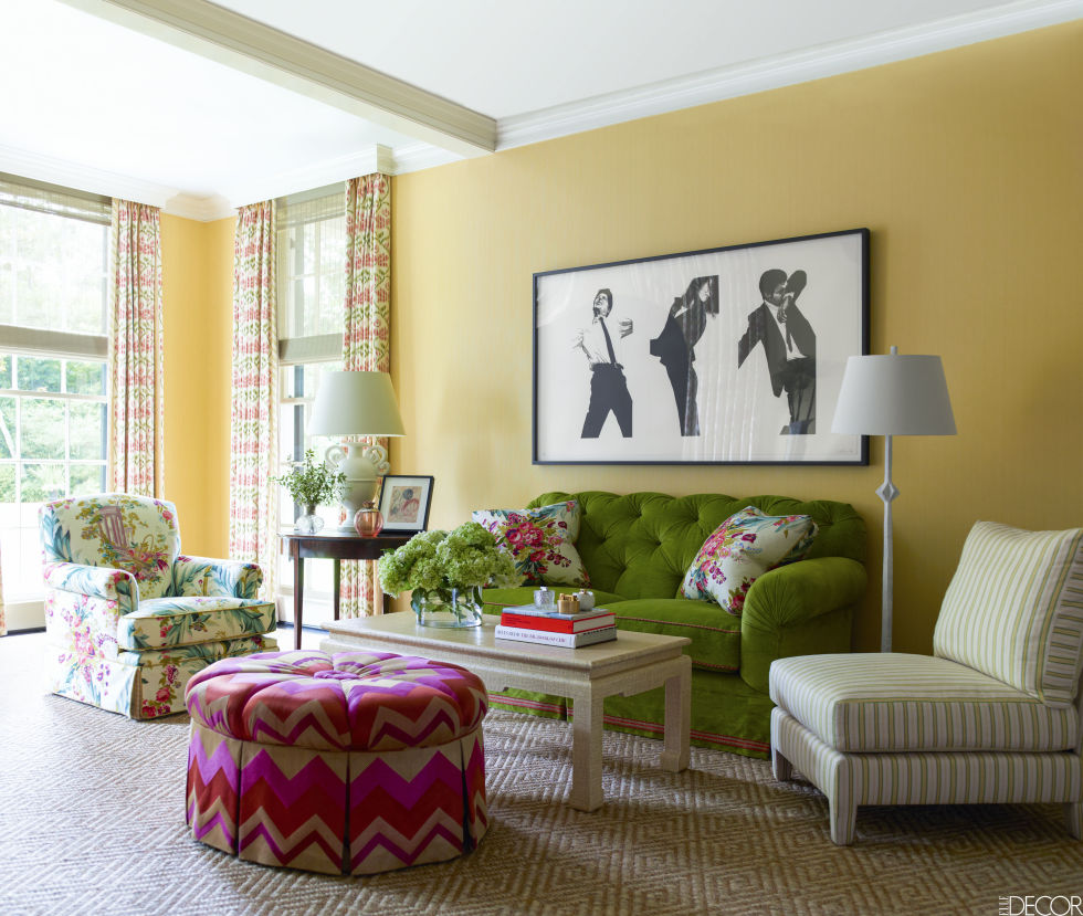 yellow living room green couch decorating ideas