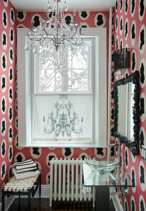 pink black wallpaper decor victorian style old fashioned ideas