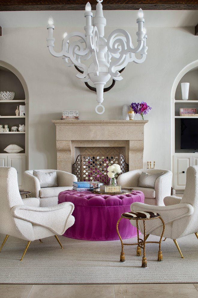 glamorous living room decorating ideas pink tufted ottoman