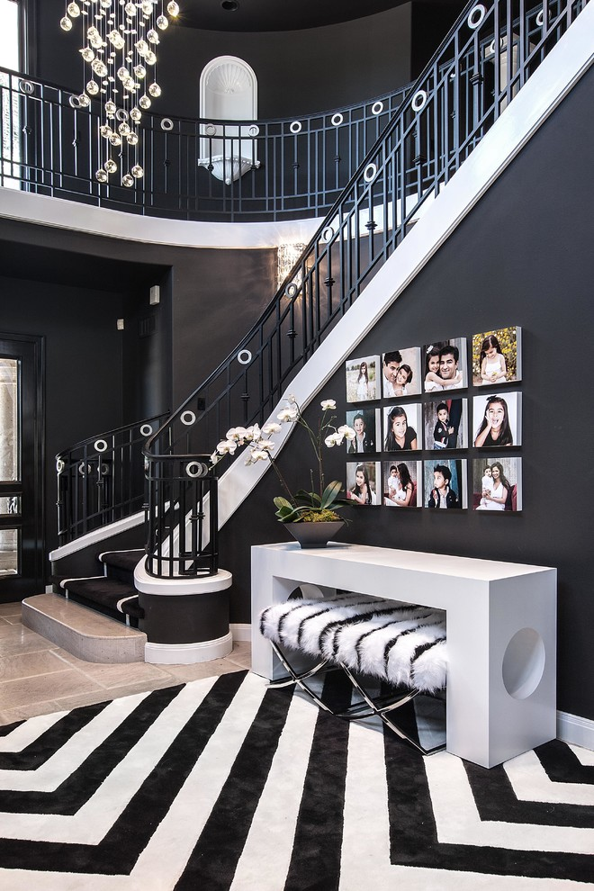 black wall color entrance staircase decorating ideas