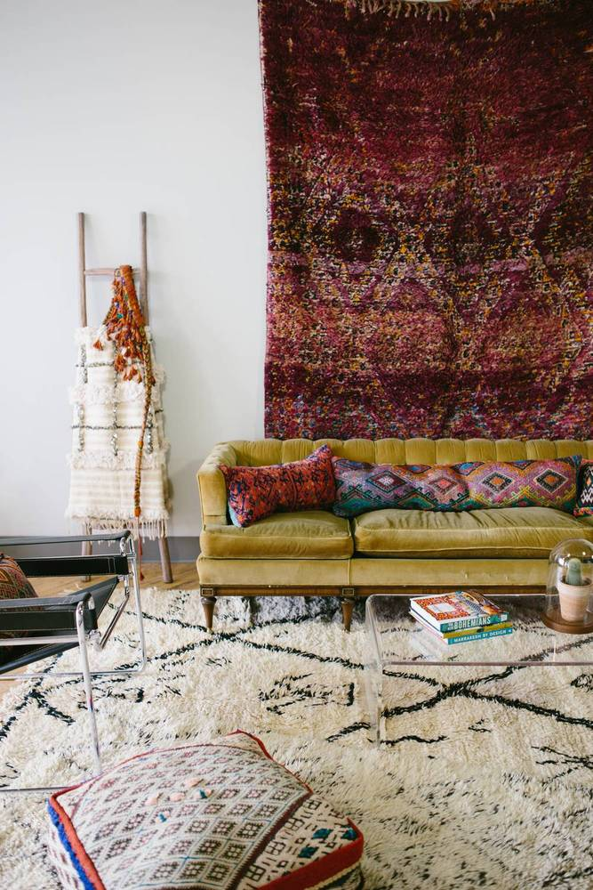 bohemian living room decorating rug on wall maroccan style