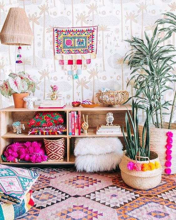 bohemian style decorating fun gyspsy colorful fur oriental rugs
