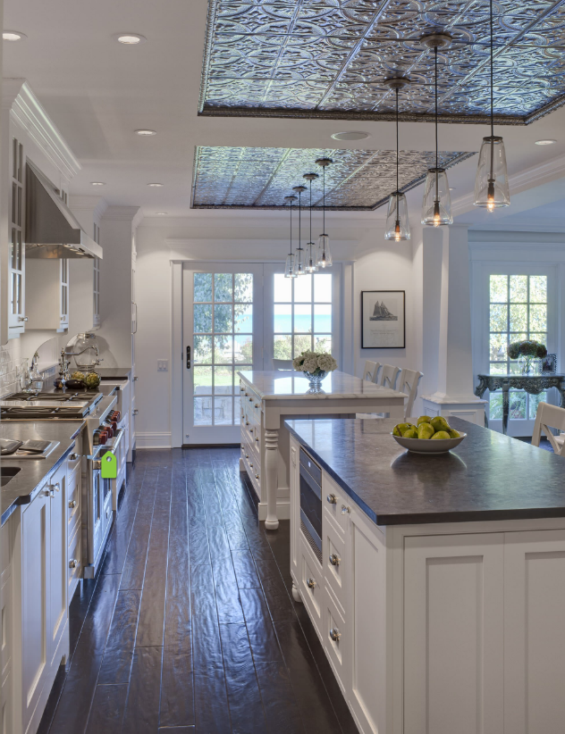 ceiling tiles above kitchen island decorating ideas