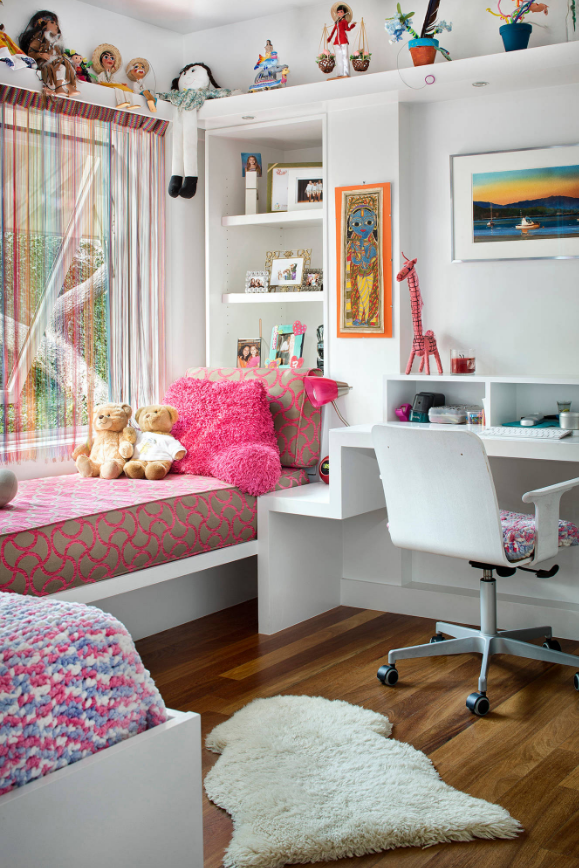 fun kids bedroom decorating colorful office computer desk white walls