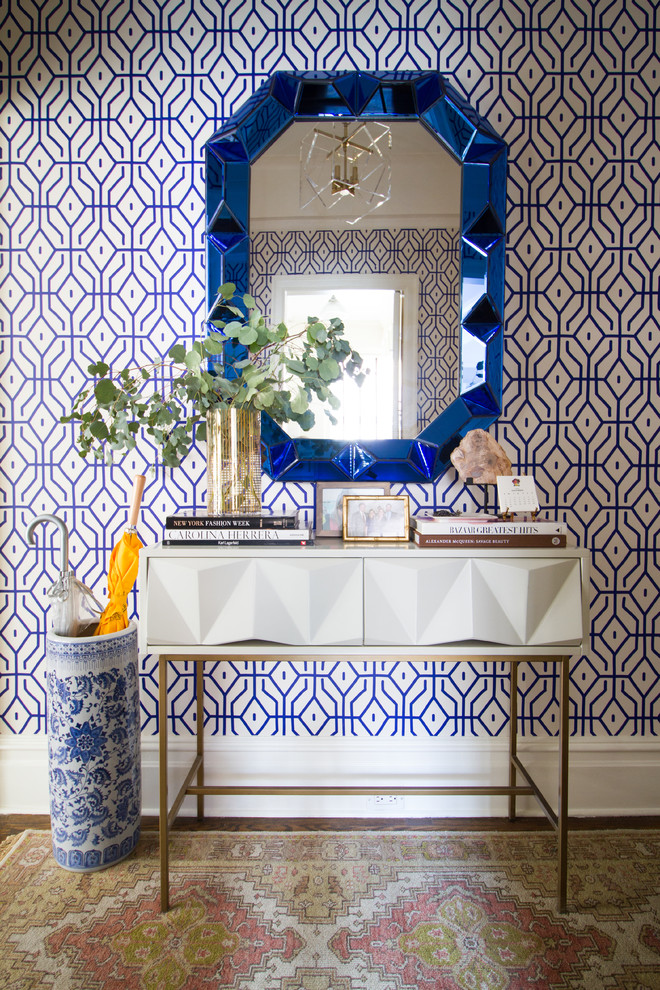 geometric wallpaper eccentric blue entryway console table decorating