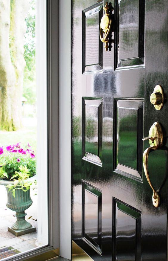 glossy black front door decor