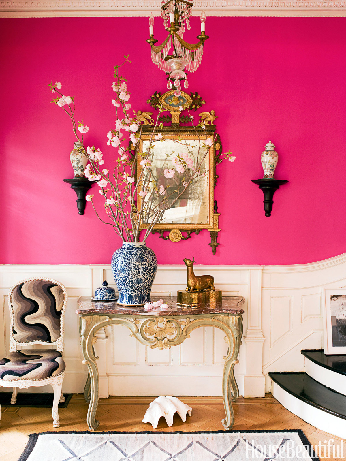 pink paint color walls entry way glamorous foyer better decorating bible blog