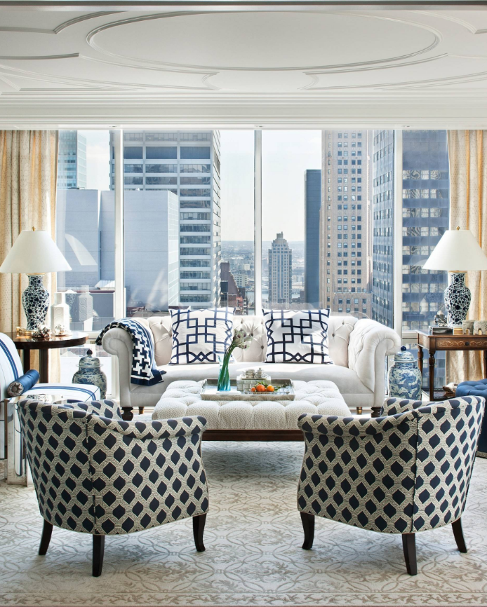 chic blue and white apartment decorating