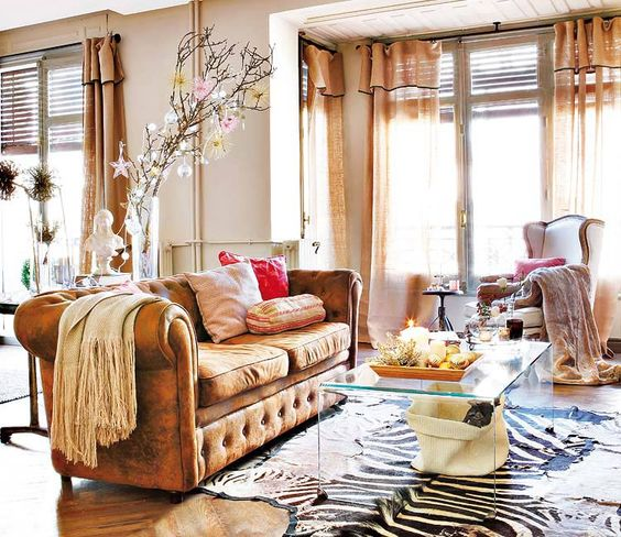 Zebra Rug Interior Design: Tanned Leather Sofas Are The Hottest Decorating Trend Of