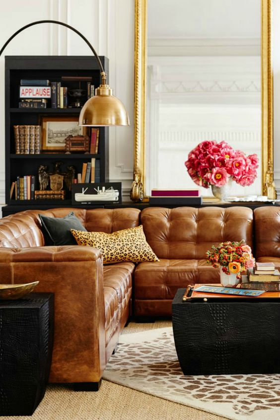 Tanned leather sofas are the hottest decorating trend of for Decor gold blog