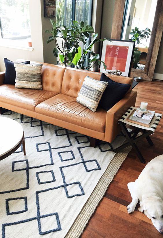 tanned-leather-sofa-morrocan-rug-simple-ideas
