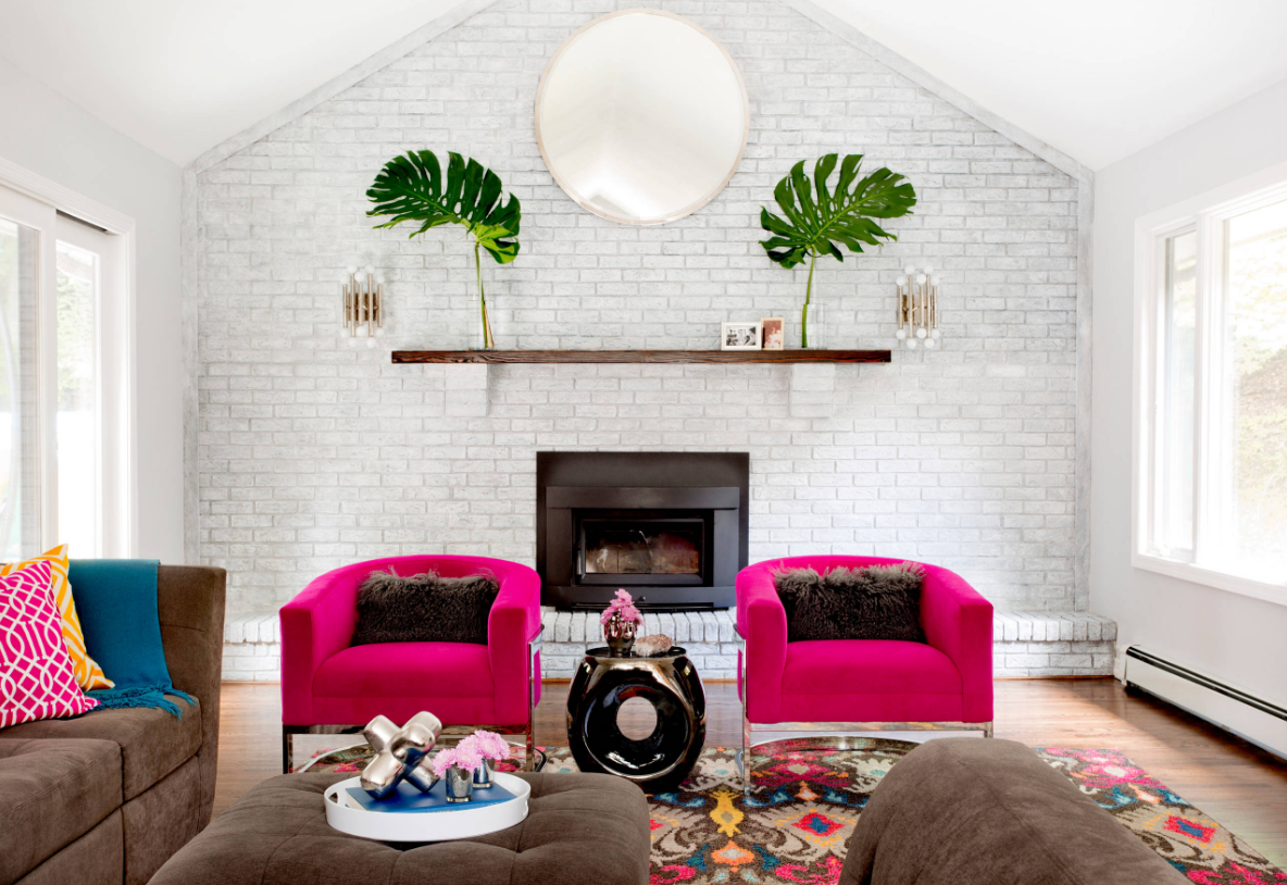 white walls colorful living room decorating ideas pink sofa