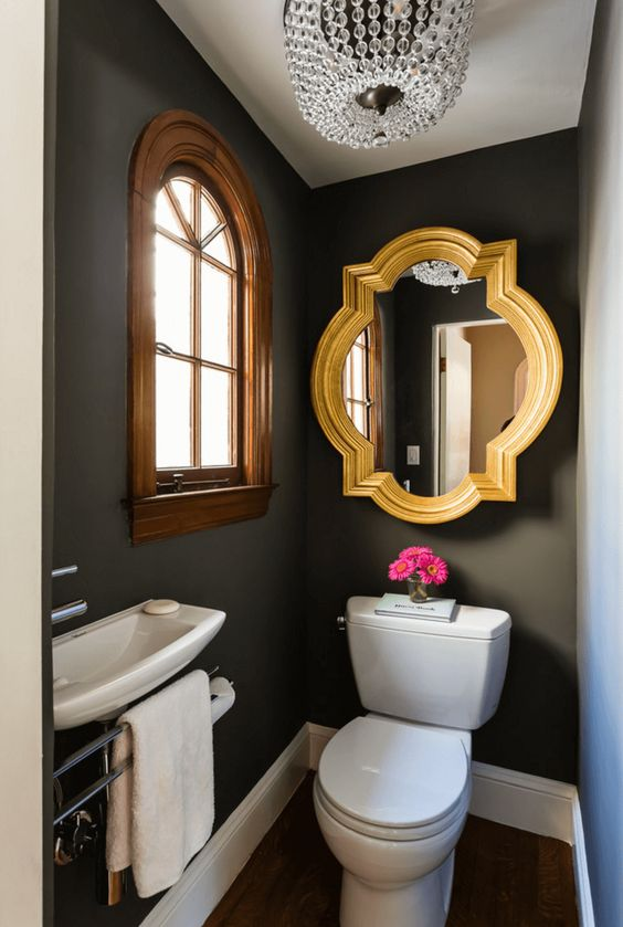 black-bathroom-with-gold-mirror-glam-ideas-cheap-update-reno-bath