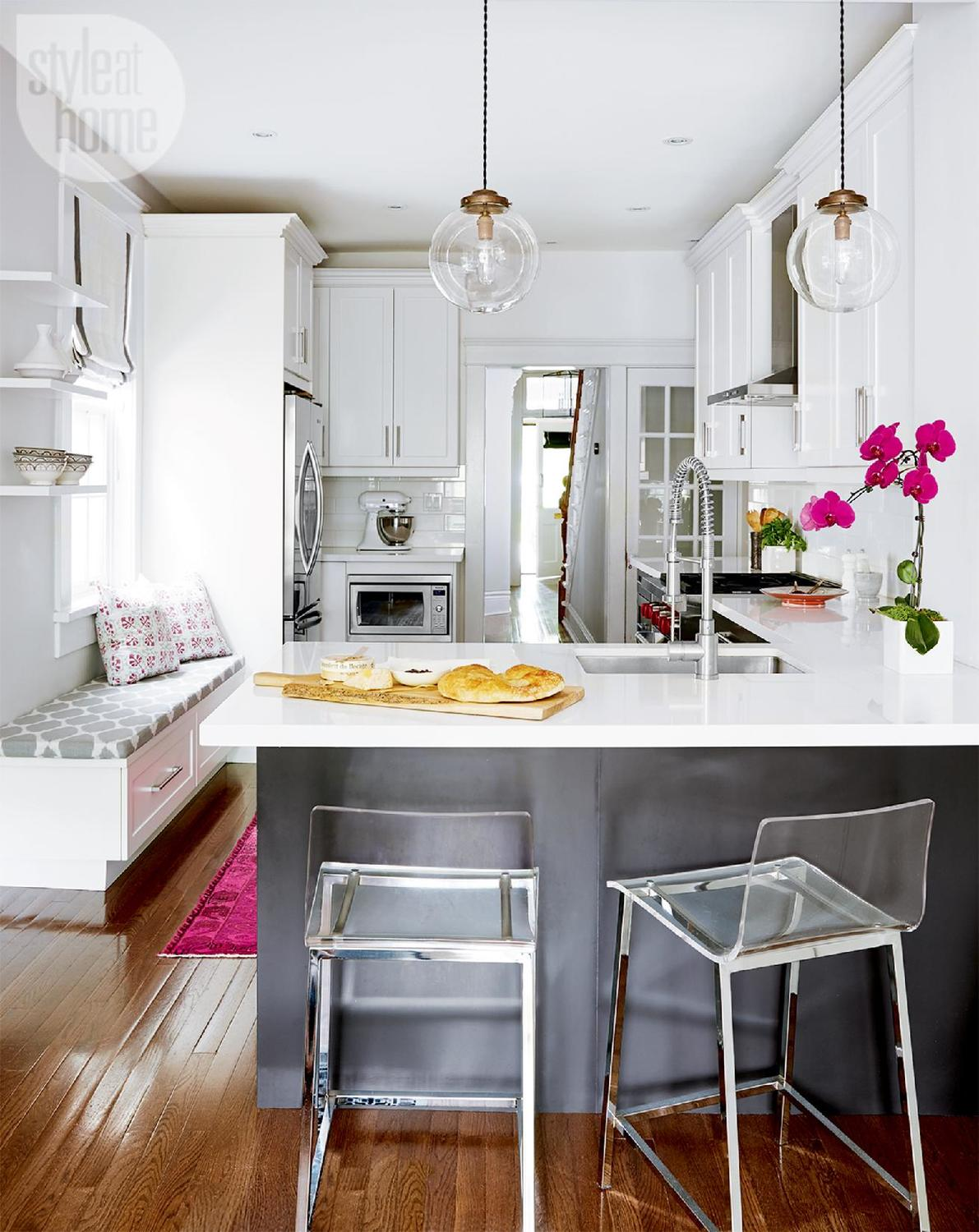grey-and-white-kitchen-decorating-ideas-clear-lucite-bar-chairs