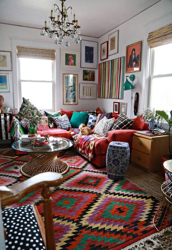 bohemian-gypsy-decorating-mismatching-beautiful-decor-ideas-colorful-red-sofa-couch