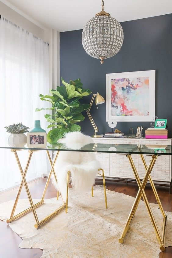 glamorous-home-office-decorating-ideas-gold-glass-desk-designer-style