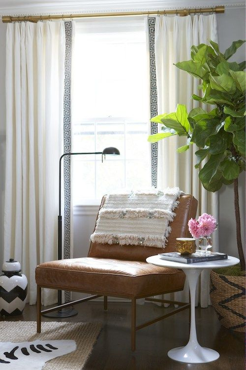 gold-curtain-rod-with-greek-key-curtains-ideas-decorating-glam-zebra-rug