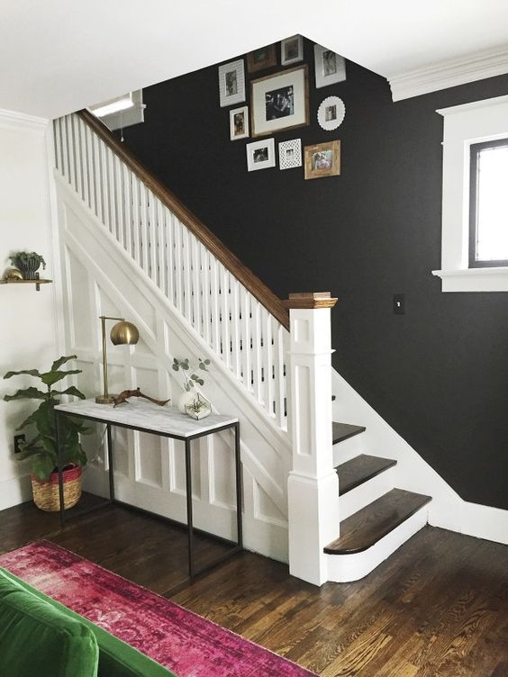 black-walls-home-entrance-stairs-decorating-ideas-marble-side-table