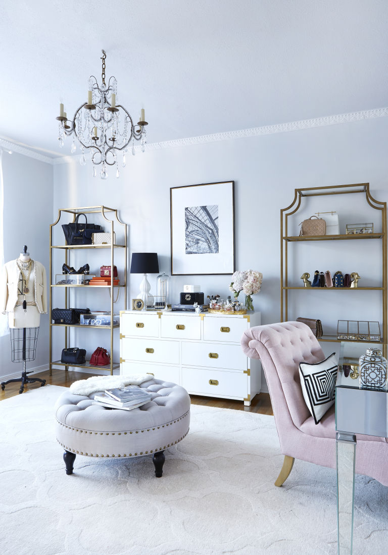 blogger-home-office-decorating-ideas-chic-parisian-style-campaign-desk-gold-painted-bookshelves