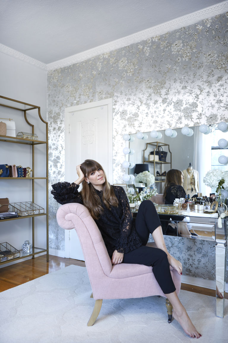 home-office-tour-metallic-wallpaper-decorating-ideas-feminine-chic